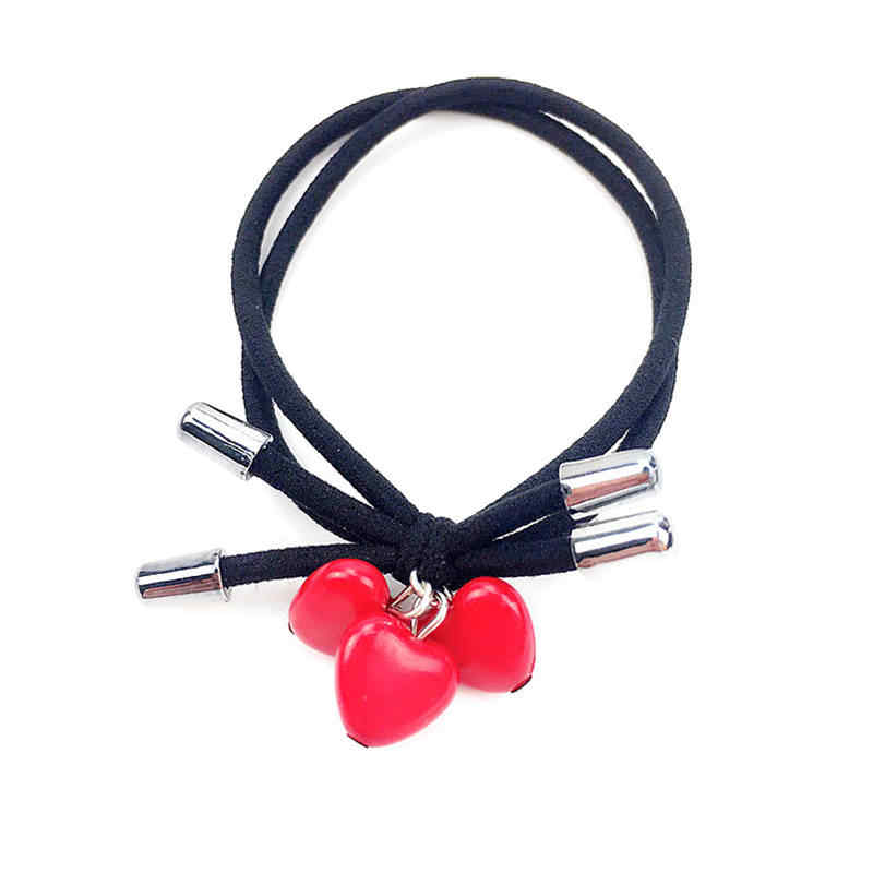 1PCS Three Red Heart Knot Bow Elastic Hair Bands Toys For Girls Handmade Two Rope Headband Scrunchy Hair Accessories For Women