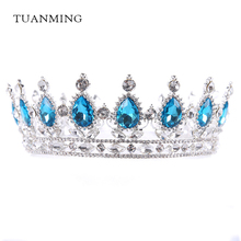 Baroque Vintage Gold Silver Round Crystal Wedding Hair Accessories Bridal Tiara Queen King Crown Hair Jewelry Prom Party Gift