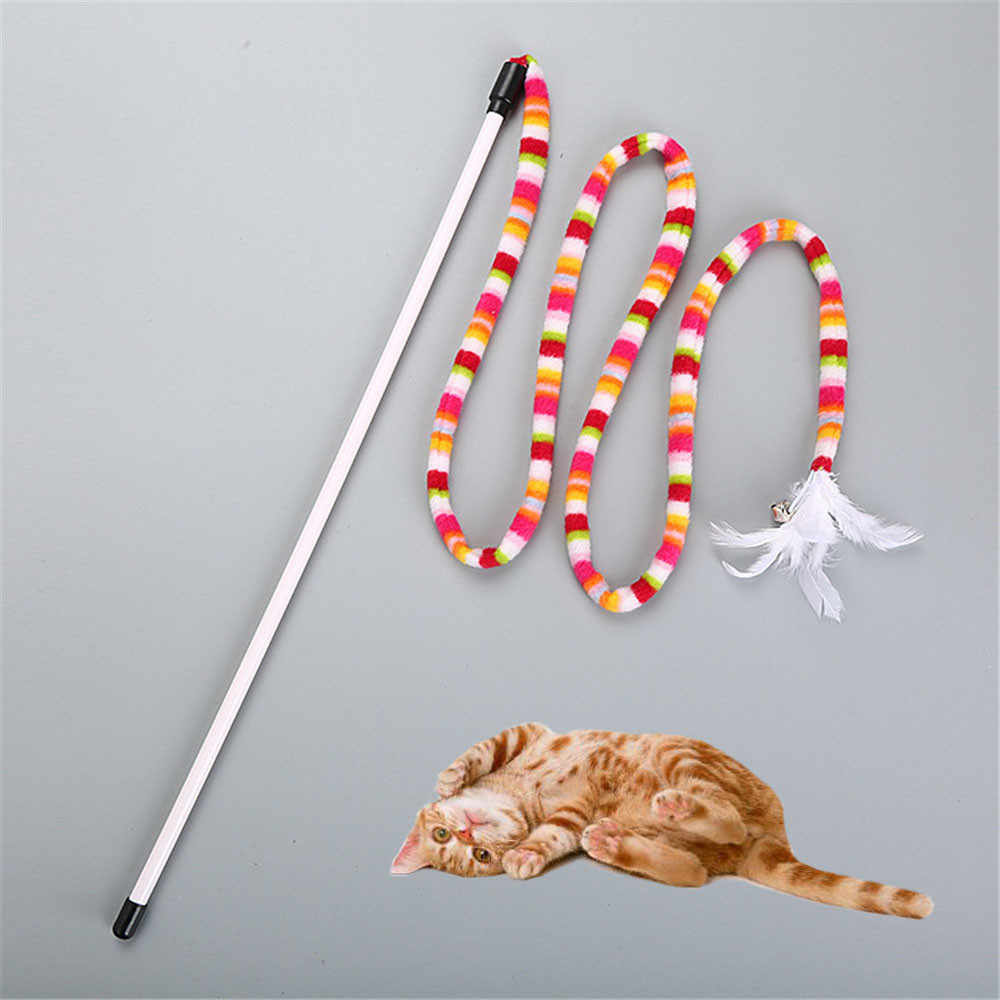 Kitten Cat Pet Toy Chaser Stick Rainbow  Streamer Interactive Play Fun Toys cat toys Small pet supplies cat pet supplies