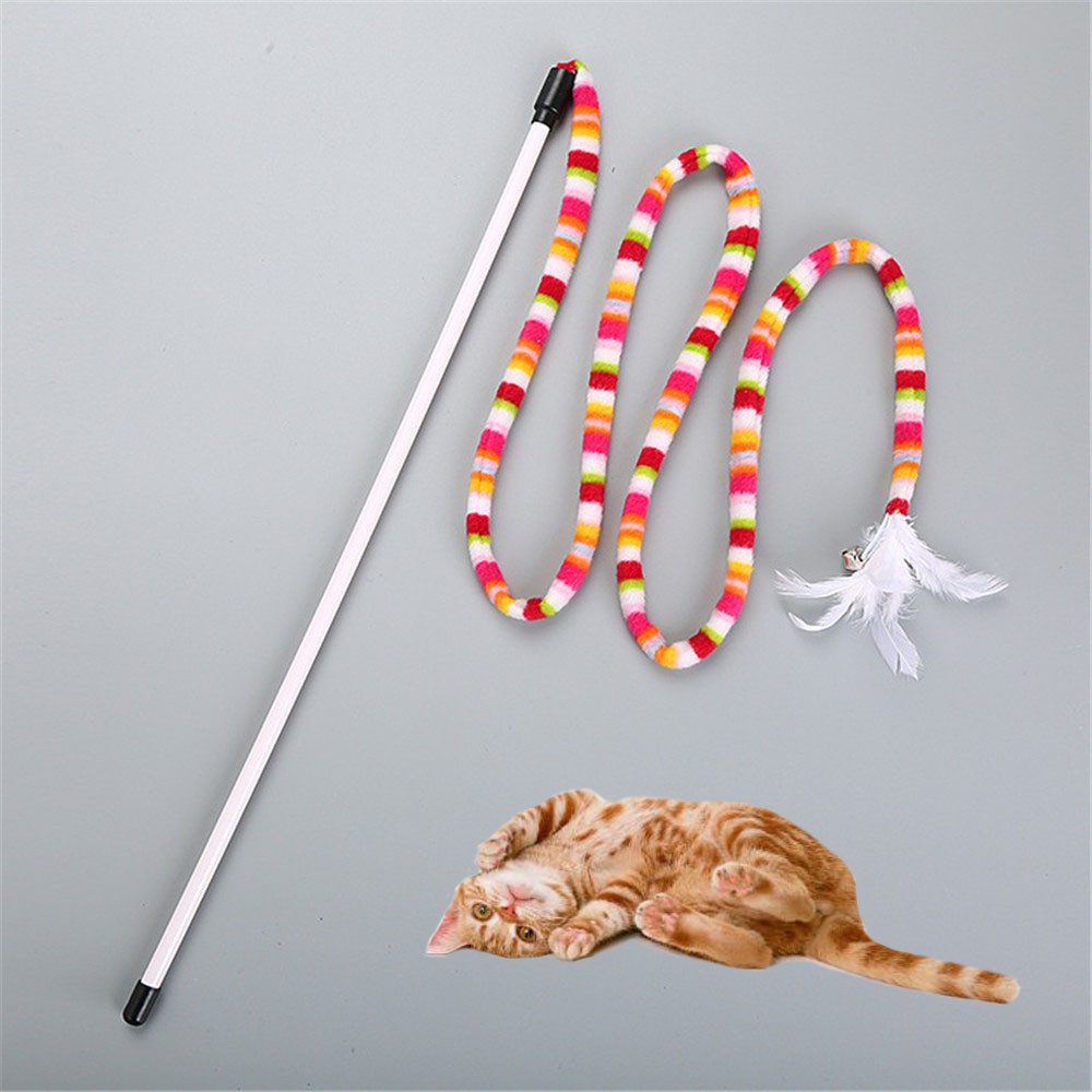 Kitten cat toy Chaser Stick Rainbow  Streamer Interactive Play Fun Toys jouet chat Small pet supplies gato pet supplies Инструмент