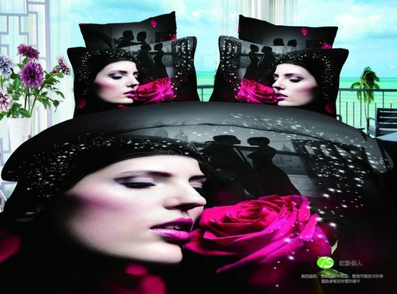 3D Black Red Rose Print Bedding Set Sets Queen Size
