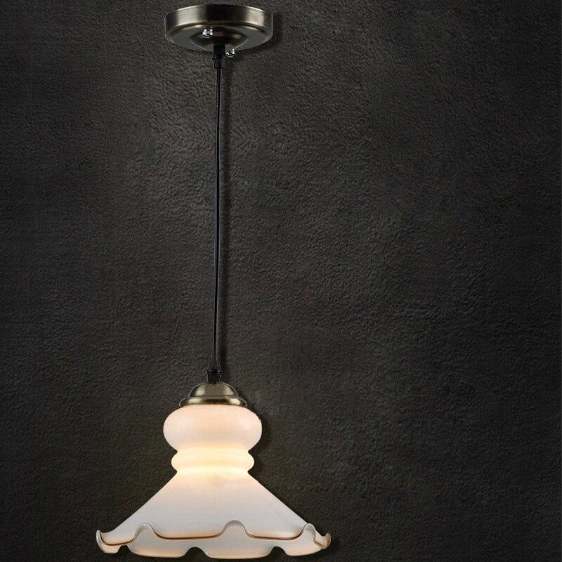 Vintage Aisle Light Retro Glass White Lotus Industral Pendant Lamp Hanging Lights For Dining Room Bedroom Hallway  PL493 loft vintage edison glass light ceiling lamp cafe dining bar club aisle t300