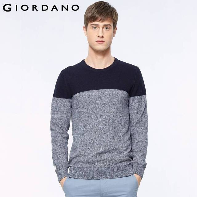ef25223f4b3c Giordano Men Crewneck Sweater Combed Cotton Pullover Long Sleeves ...