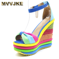 MVVJKE 2018 Summer Sexy Bohemia Rainbow Peep Toe Platform Sandals For Womens Ladies Blue Denim Wedges Sandal