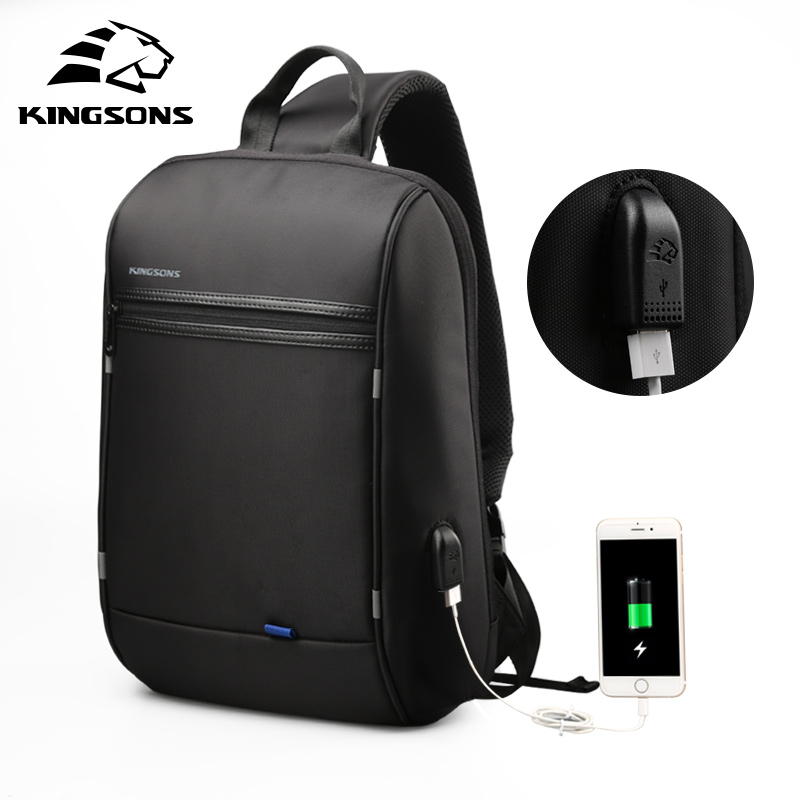 Kingsons Waterproof Shoulder Bags Men Women Laptop Messenger USB Charging Chest Bag 13.3 inch Laptop Bag for Macbook Air Pro 13 laptop bag bolsa feminina women messenger bags sac ordinateur 13 14 15 inch handbag leotop shoulder bag for macbook air pro