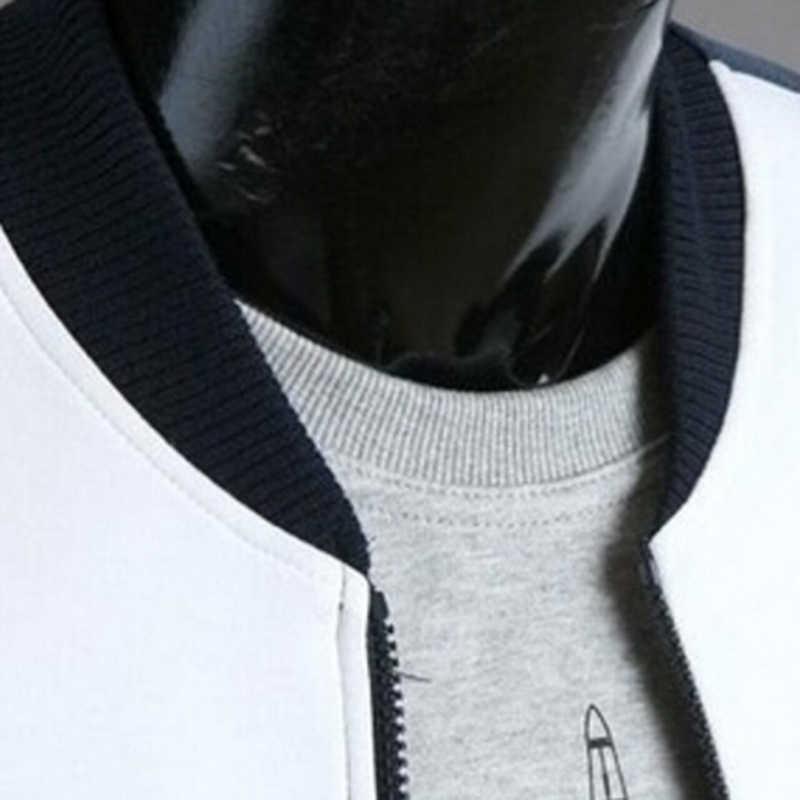 2020 남자의 봄 코트 & 겉옷 스트라이프 패치 워크 스포츠웨어 남성 스탠드 칼라 슬림 코트 캐주얼 양 털 스웨터 자 켓
