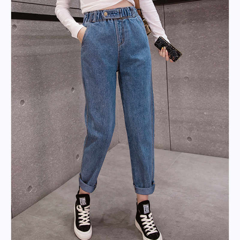 JUJULAND autumn winter  Clothes Ladies High Waist Female Boyfriend Jeans with a tight waistl Denim Ripped Jean Woman Plus Size