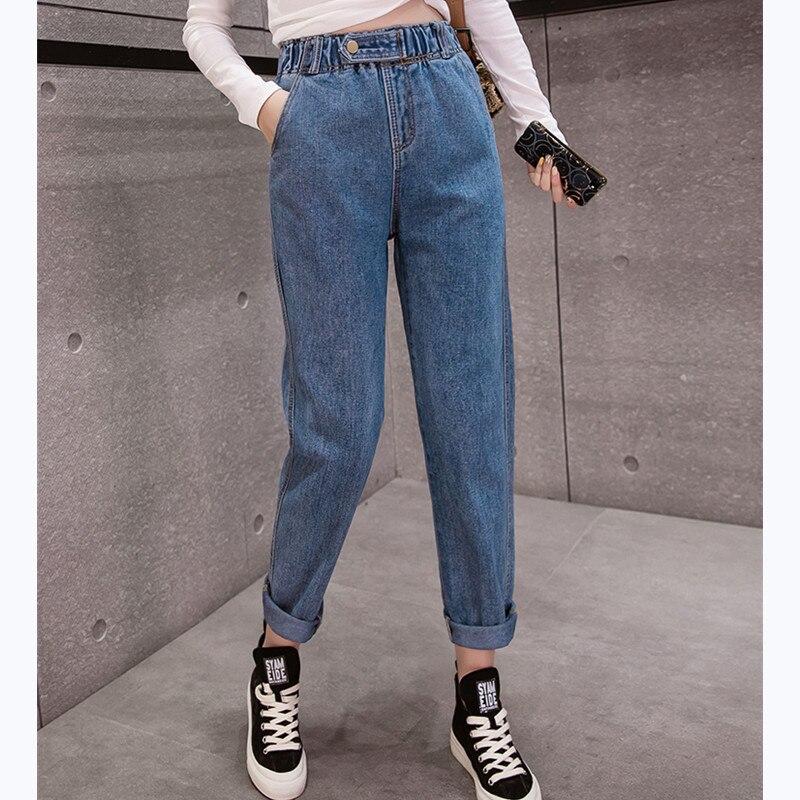 JUJULAND Autumn Winter  Clothes Ladies High Waist Female Boyfriend Jeans With A Tight Waistl Denim Ripped Jean Woman Plus Size