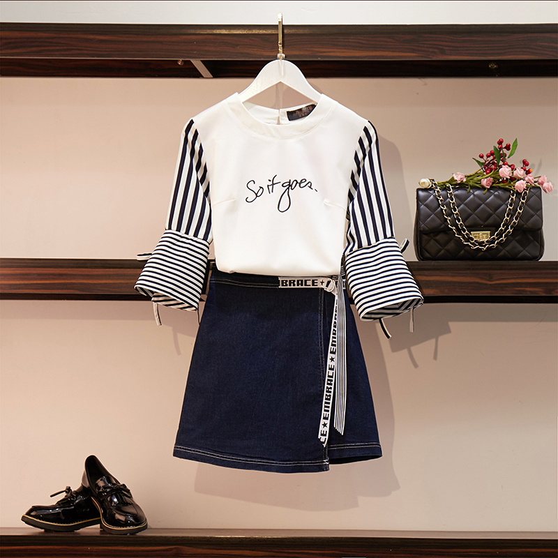 Women Casual Letters Striped Fare Sleeve Shirt Tops + Denim Lace-Up Skirts Sets Girls Summer Half Sleeve Top Blouse Skirt Suits