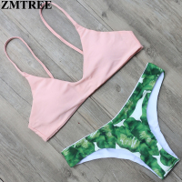 ZMTREE Leaf Printed Women Swimwear Pink Top Bikini Set 2017 Hot Swimsuit Low Waist Bandage Bikini