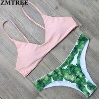ZMTREE Leaf Printed Women Swimwear Pink Top Bikini Set 2017 Hot Swimsuit Low Waist Bandage Bikini