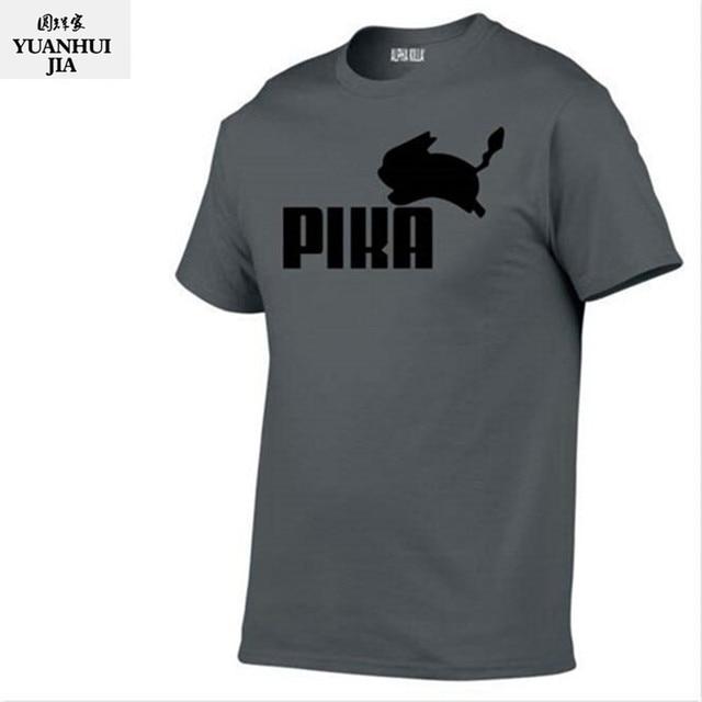5d2e9b72b Moda Linda Camiseta Pokemon Anime Pikachu Pika Homens Camisetas Camisa Do  Menino T 100% algodão