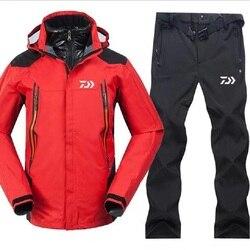 2018 nowy Daiwa odzież wędkarska zestawy mężczyźni oddychająca odzież sportowa zestaw turystyka wiatroszczelna odzież wędkarska kurtka i spodnie w Ubrania wędkarskie od Sport i rozrywka na