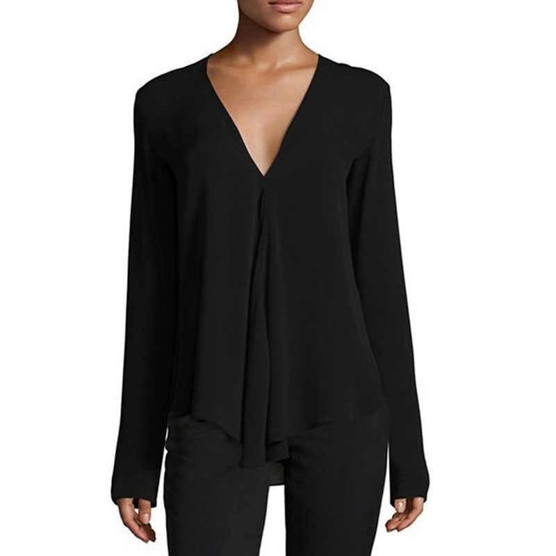 75bcac8a0cd ... Осенняя винтажная женская шифоновая блузка с v-образным вырезом с длинным  рукавом Женская Туника Повседневная ...