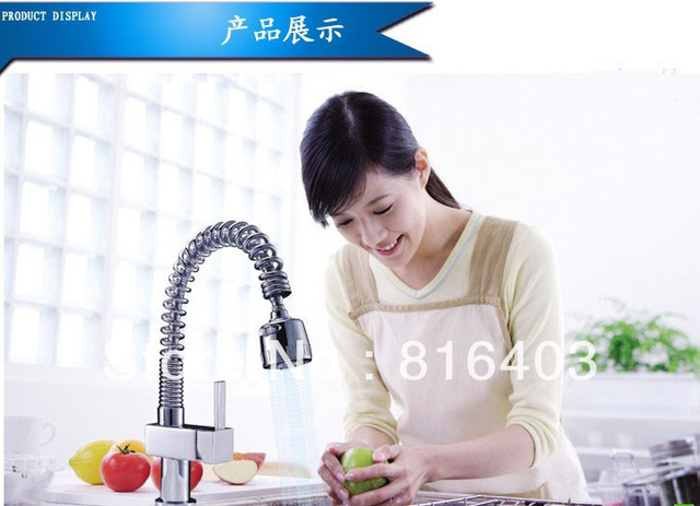 pull out faucet chrome plating swivel kitchen sink pull out Mixer pull out tap kitchen faucet brass both hot and cold water