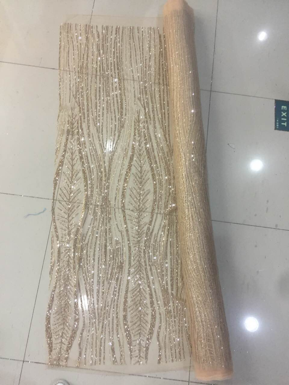 New Arrival french Net african gold glitter sequence