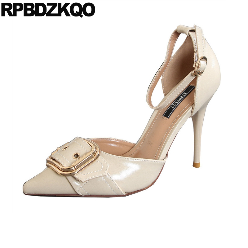 Pointed Toe Office Beige Fashion Extreme Size 4 34 Stiletto Pumps 2018 Ankle Strap High Heels Luxury Shoes Women Designers Sexy women office shoes solid color fashion pointed toe stiletto high heels elastic band ankle strap slingback sandals pumps leather