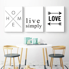 Nordic Simple Black and White Love Life Inspirational Text Pattern Canvas Painting Art Print Poster Home Picture Wall Decoration