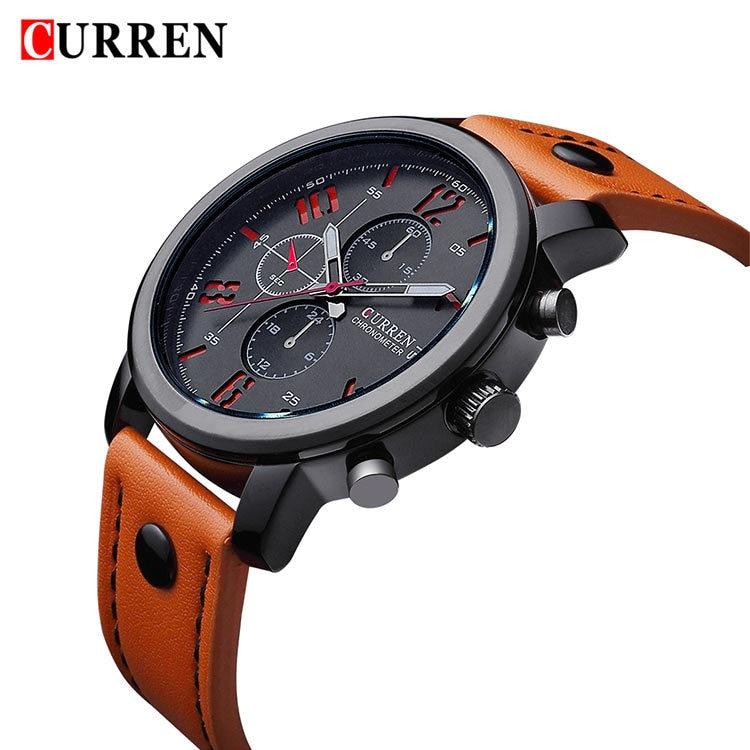 2017 CURREN Casual hombres relojes marca cuero de lujo hombres relojes de pulsera militares hombres deportes reloj de cuarzo reloj Masculino 8192