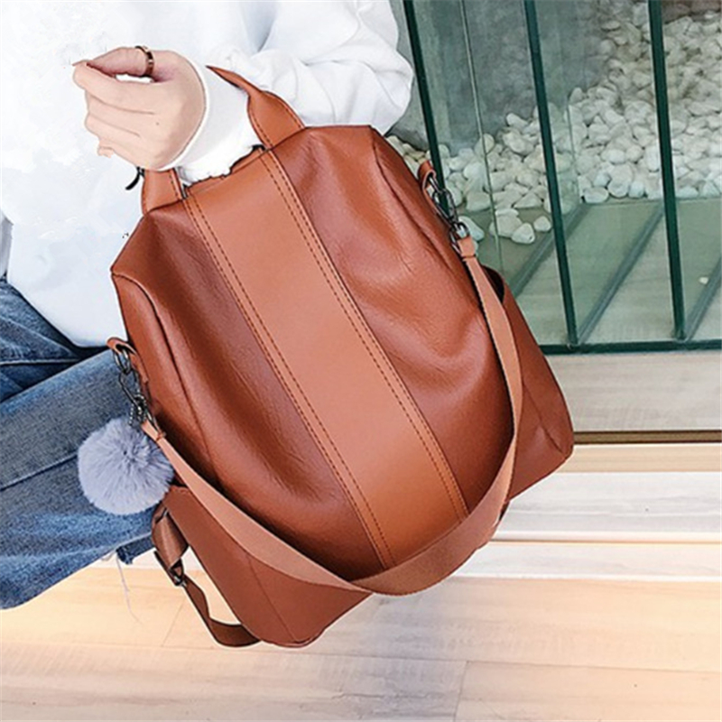 New Fashion Casual PU Women Anti-theft Backpack 2019 Hight Quality Vintage Backpacks Female Larger Capacity Travel Shoulder Bag