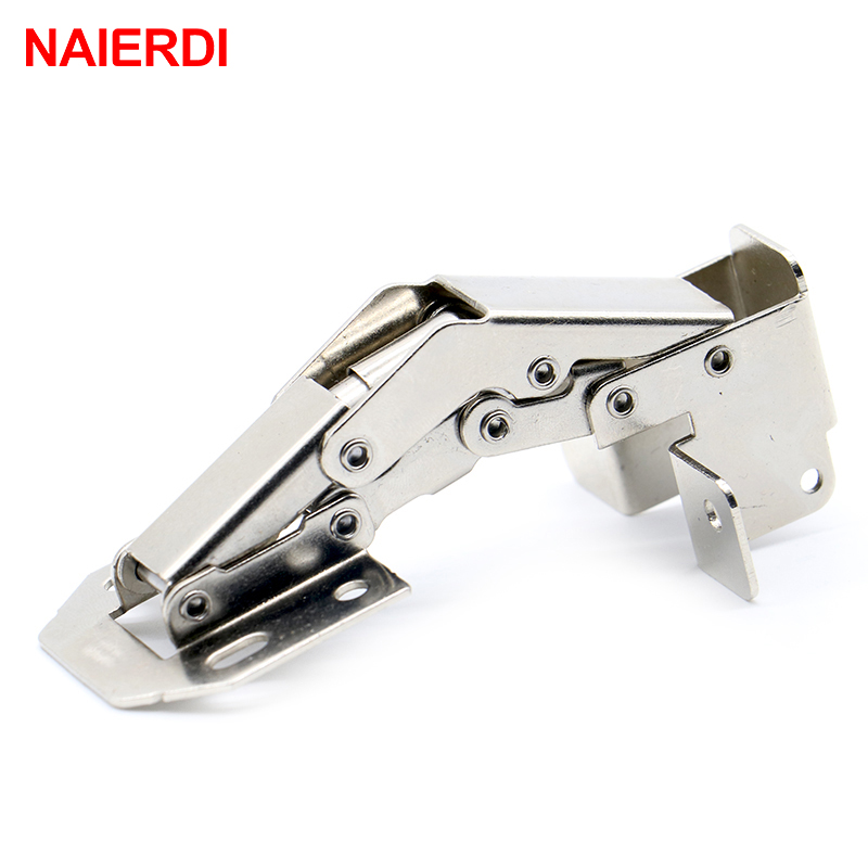 4PCS NAIERDI 90 Degree 4 Inch No-Drilling Hole Cabinet Hinge Bridge Shaped Spring Frog Full Overlay Hinge Cupboard Door Hardware brand naierdi 90 degree corner fold cabinet door hinges 90 angle hinge hardware for home kitchen bathroom cupboard with screws