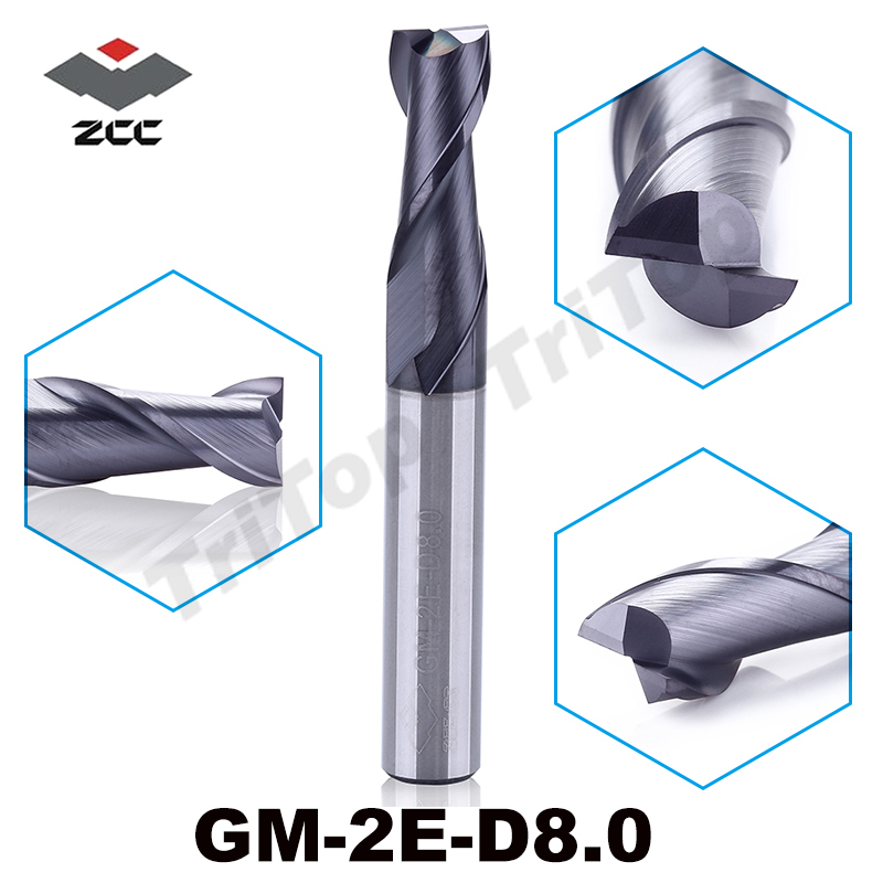free shipping  ZCC.CT GM-2E-D8.0 8.0mm carbide mill cutter  2 flute TiAIN coated d8 end mills cnc mills cobalt alloy free shipping of 1pc hss 6542 full cnc grinded machine straight flute thin pitch tap m37 for processing steel aluminum workpiece