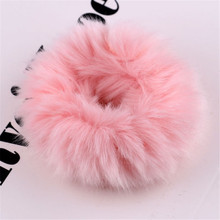 YJSFG HOUSE Women Fashion Elastic Hair Bands Soft Fluffy Faux Fur Fuzzy Scrunchie Ladies Ring Rope Accessories