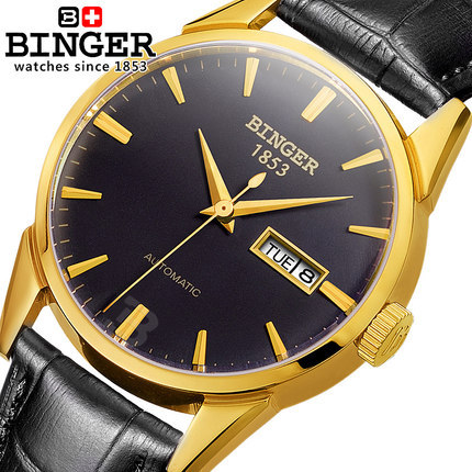 Здесь можно купить   Original Rhinestone Relojes Automatic Men Watches Casual Binger Geneva Leather Strap Watch For Male Wristwatch Relogio Masculino Часы