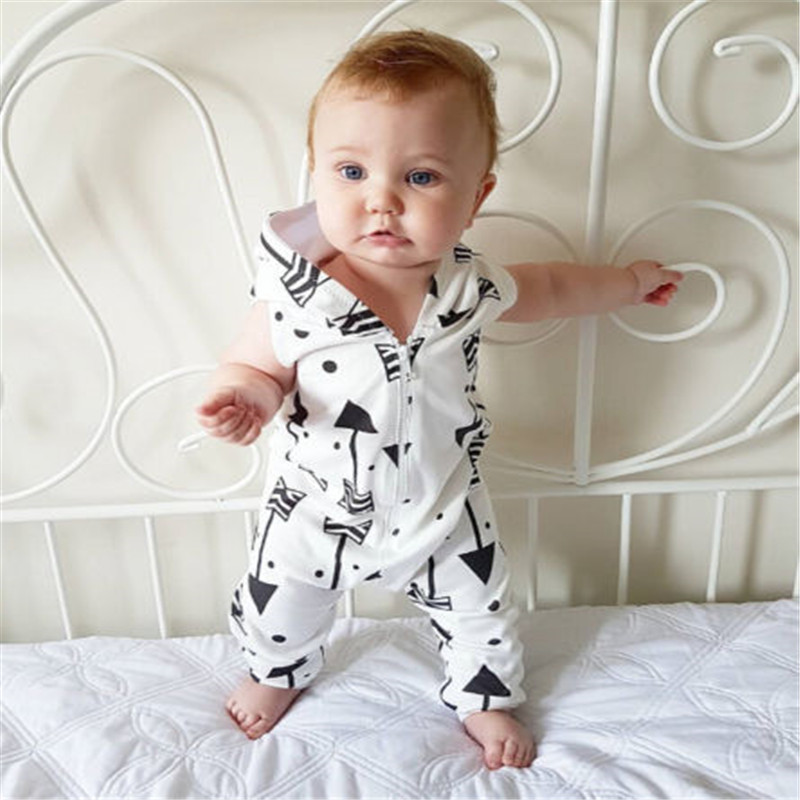 2018 Emmababy Newborn Toddler Baby Boys Baby Girls Unisex Zipper Printed   Romper   Hooded Jumpsuit Fashion Clothes Outfit 0-24M