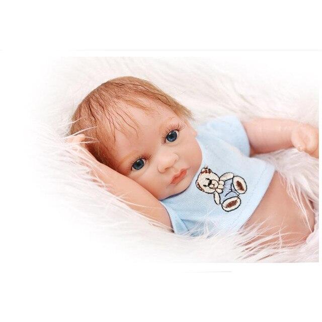 """8 """"Мини Возрождается Куклы Мальчики Полный Силиконовые Куклы Reborn Детские Игрушки для Девочек Подарок На День Рождения, Силиконовые Возрождается-детей с Одежда Hat"""