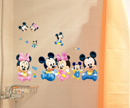Cute Mickey Mouse Minnie Art Wall Stickers Decals Mural Kids Nursery Home Decor