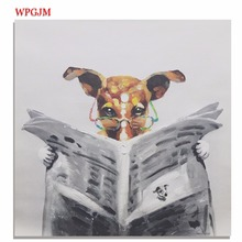 Fun oil painting dog reading newspaper kids bedroom large size square hand-painted frameless wall art poster Decorative