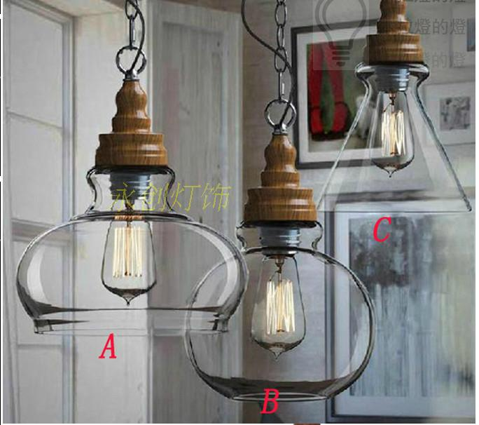 Modern Pendant Lamp Metal Materials Of Wood Grain Glass