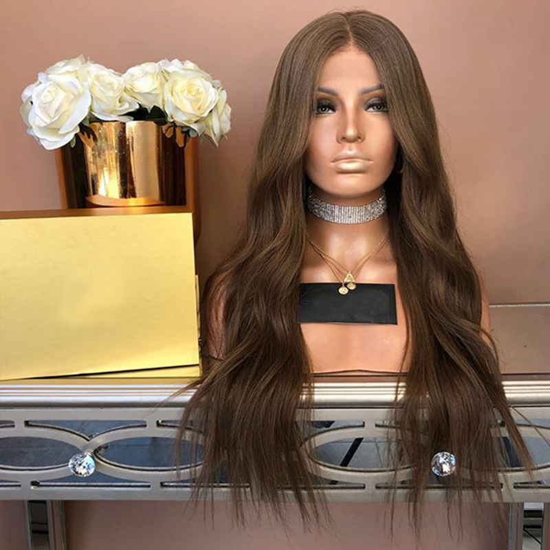 SimBeauty #6 Brown Water Wave  Lace Front Human Hair Wig Middle Part Glueless Brazilian Remy PrePlucked With Baby Hair Around