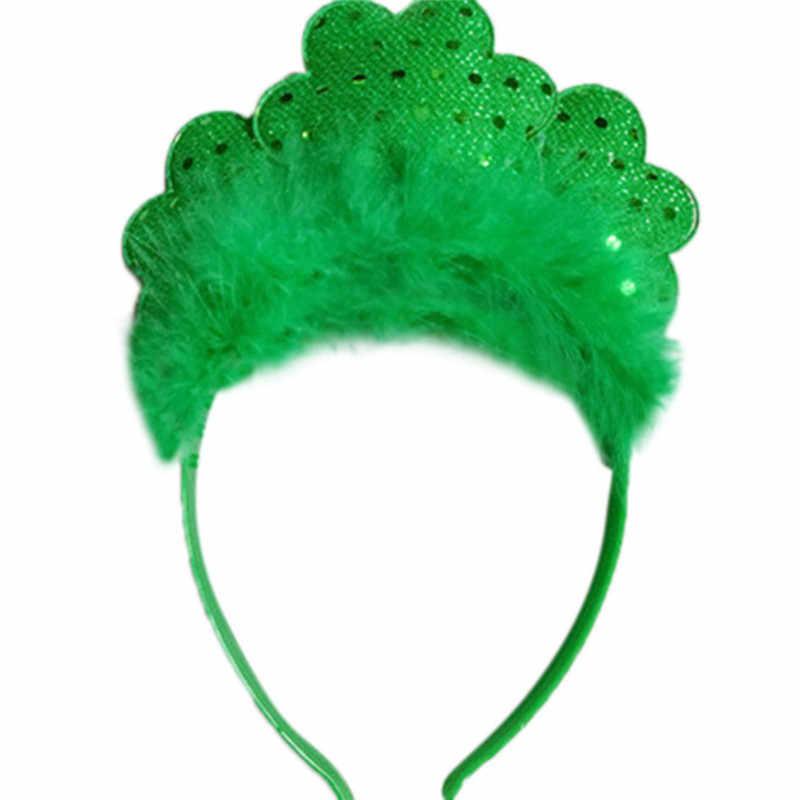 Nuevo irlandés St Patricks día diadema verde diadema Shamrock hebilla  accesorios pequeño sombrero de lentejuelas para 6b8b89cb547e