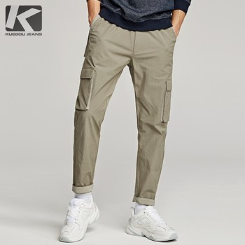 Autumn 2019 New Men Casual Cargo Pants Elastic Waist Khaki green Color Pocket For Man Fashion Slim Male Wear Long Trousers 1993
