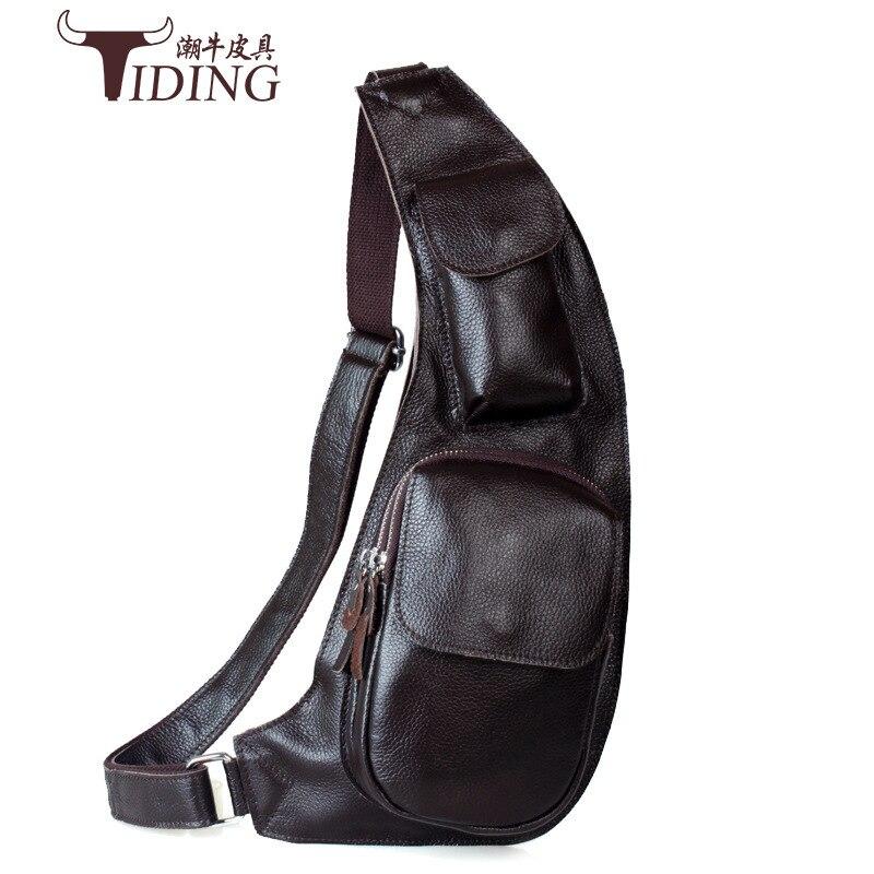 TIDING Luxury Genuine Cow Leather Litchi Pattern Men Messenger Bag Sling Chest Bag Shoulder Bag Crossbody Bag 2017 New casual canvas satchel men sling bag