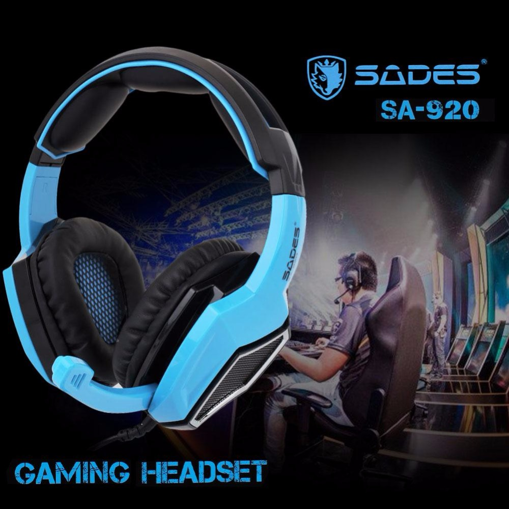 SADES Headband Headset Dynamic with Mic 3.5mm Stereo Surround Noise-Canceling Durable Over Ear PC Games competitive Headphone sades a6 usb 7 1 surround sound stereo gaming headset headband over ear headphone audifonos fone with mic led light for pc gamer