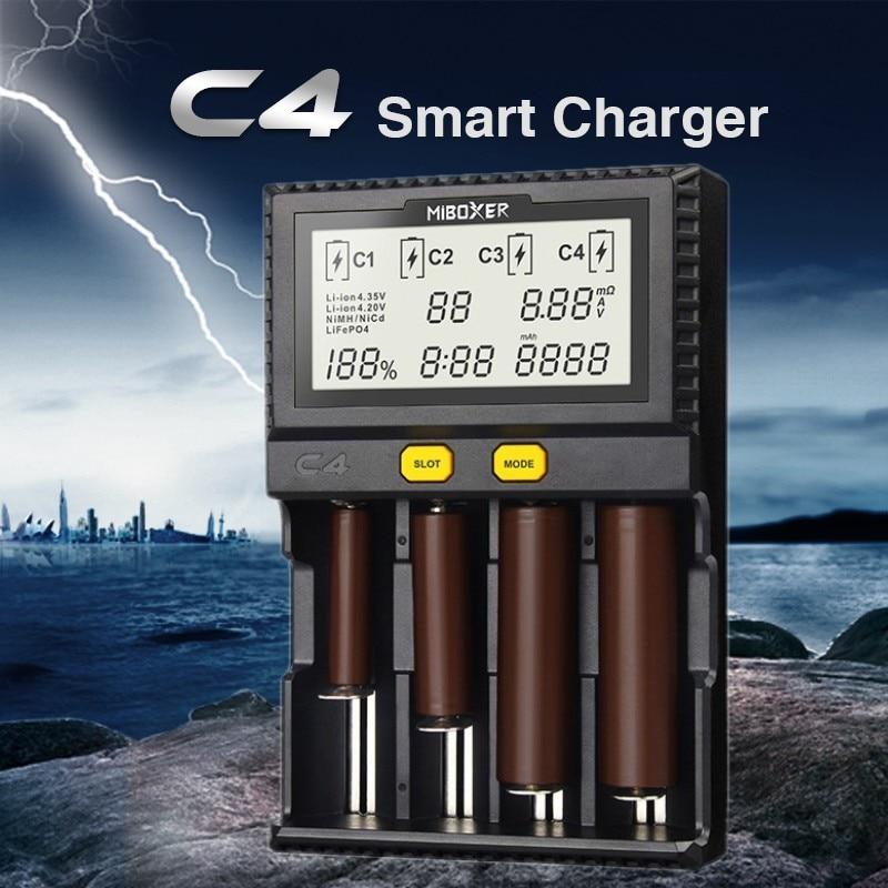 Original Miboxer C4 VC4 LCD Smart Batterie Ladegerät für Li-Ion/IMR/INR/ICR/LiFePO4 18650 14500 26650 AA 3,7 1,2 v 1,5 v Batterien D4