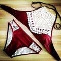 2017 Sexy Halter Biquíni de Crochê de Alta Pescoço Vermelho Maiô Maiô Mulheres Swimwear Biquini Maillot de Bain