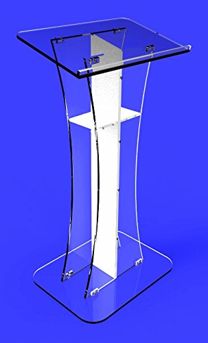 Fixture Displays Podium Clear Ghost Acrylic  Lectern Pulpit White Cross  Easy Assembly Required Minister's Desk Plexiglass
