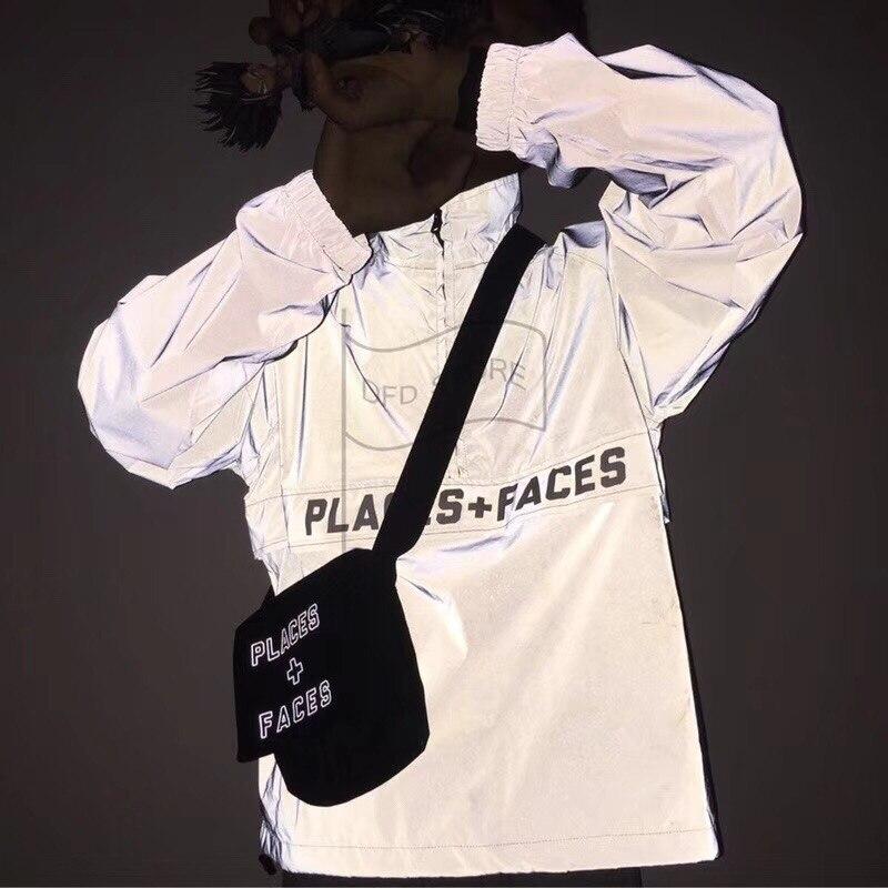 À Étanche Visages Femmes Veste bleu Vestes Beige Ciel Réflexion Imprimé pu M Hommes Glissière vent Qualité noir P Moitié Coupe F 2019ss Hiphop Places 3 Top CBodxer