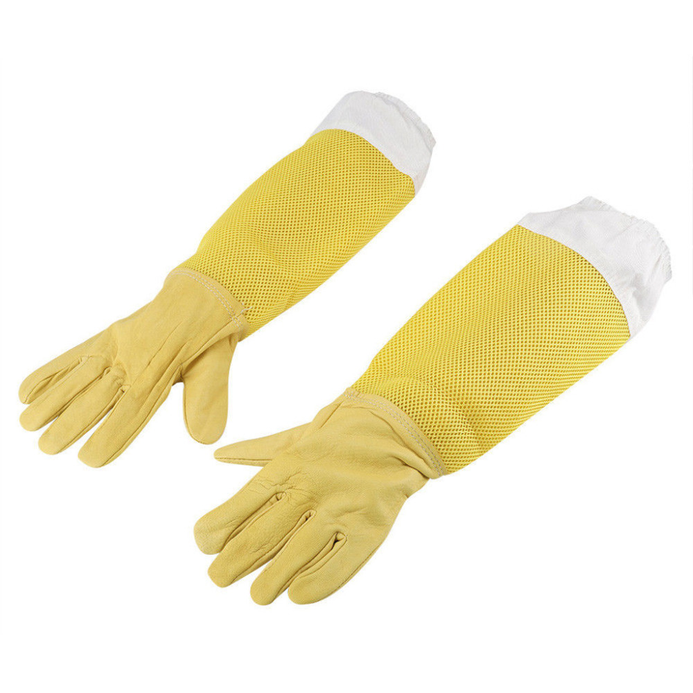 Protector Beekeeping Gloves Goatskin Bee Keeping Suits Vented Long Sleeves Guard