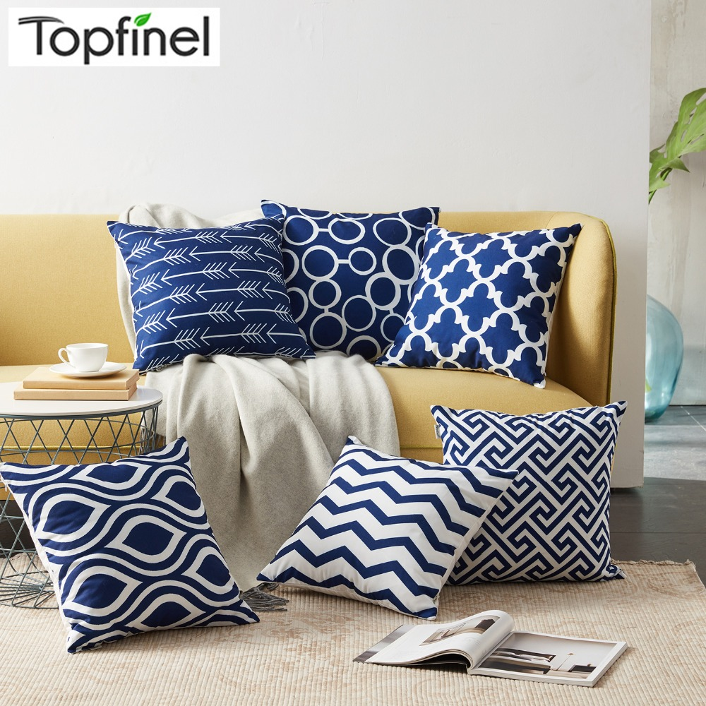 Topfinel Cushion Covers Navy Cotton Linen Geometric Decorative Throw Pillows Pillowcases For Sofa Chair Seat Car Outdoor