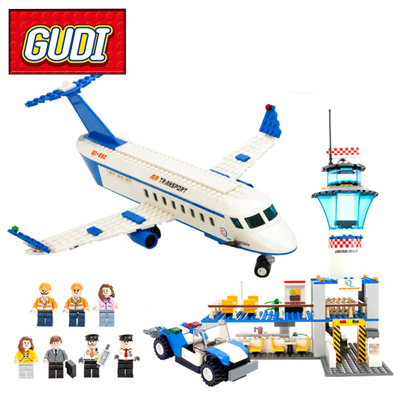 GUDI 8912 City International Airport 652pcs Building Block Sets Kids Bricks DIY Educational Toys For Children Christmas Gift banbao 8313 290pcs fire fighting ladder truck building block sets educational diy bricks toys christmas kids gift