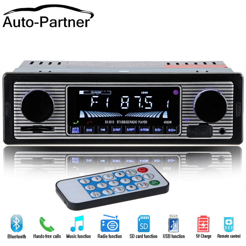12V FM Stereo Radio Receiver 1 Din Car Radio Audio 4 X 60W MP3 Player Support USB//AUX//SD//TF with Remote Bluetooth Car Stereo