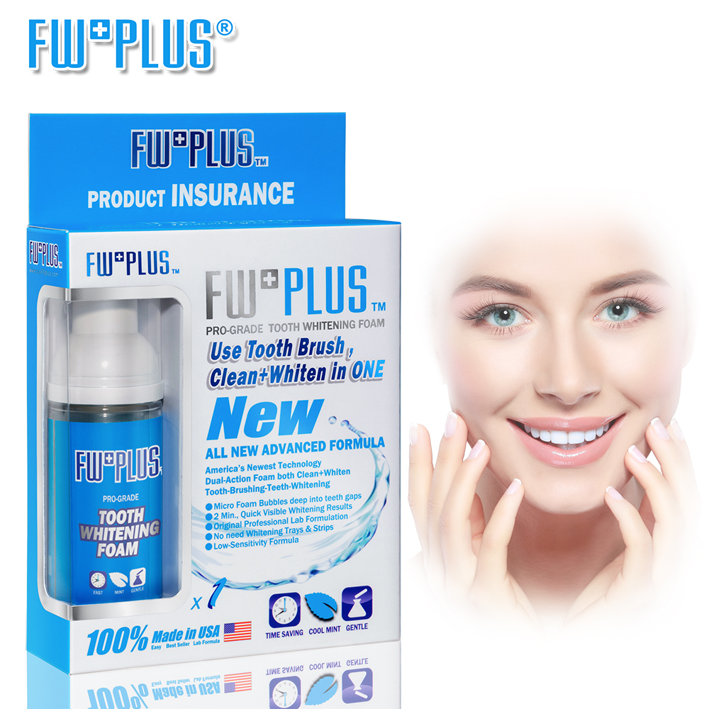 NEW Teeth Whitening FOAM Brush-Clean-Whiten Micro Foam Bubbles deep IN Teeth Gaps MUCH WHITER Than Powder USA FWPLUS 2017 teeth whitening oral irrigator electric teeth cleaning machine irrigador dental water flosser professional teeth care tools