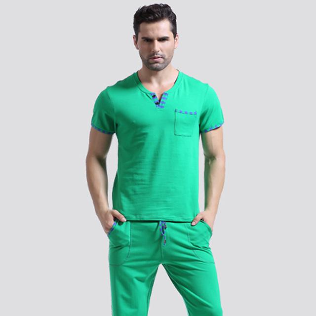 Camisa dos homens T de Algodão Bottoms Sono Conjunto de Pijama Sleepwear Calças Compridas de Pijama T Undershirts Tshirts Marca Casual Manga Curta