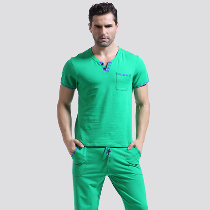 Men t shirt cotton pajama set sleepwear sleep bottoms long Long cotton sleep shirts