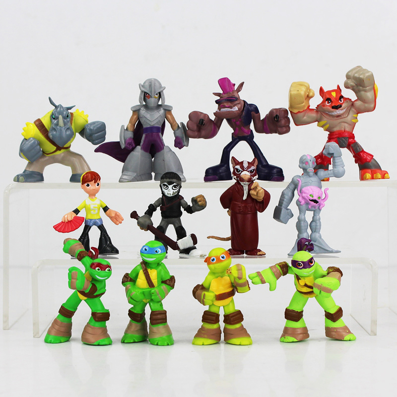 NEW Hot 12pcs/<font><b>lot</b></font> 4-6cm <font><b>TMNT</b></font> <font><b>Teenage</b></font> <font><b>Mutant</b></font> <font><b>Ninja</b></font> <font><b>Turtles</b></font> <font><b>Mini</b></font> Mouse O Neill Collectors Action Figure Toys Christmas Toy